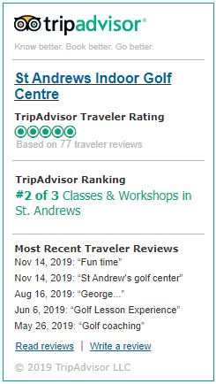St Andrews Indoor Golf Centre is 5 star review on trip advisor by our previous guests